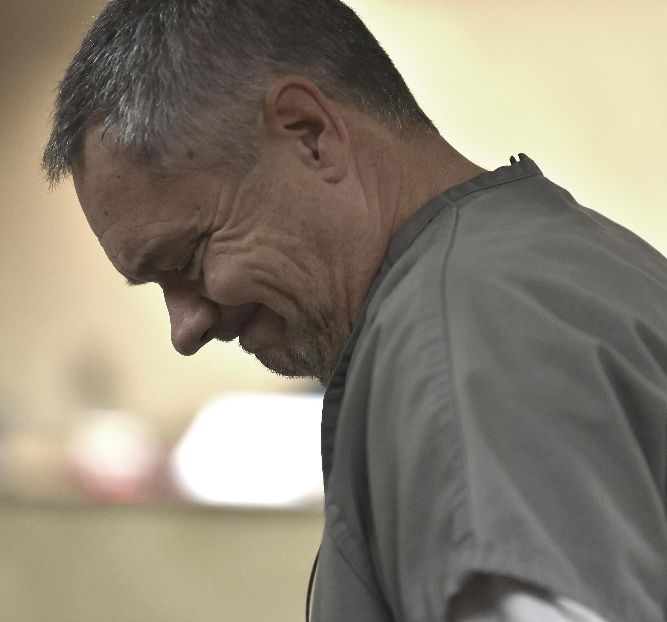Jeffrey Zeigler looks down as he is sentenced.