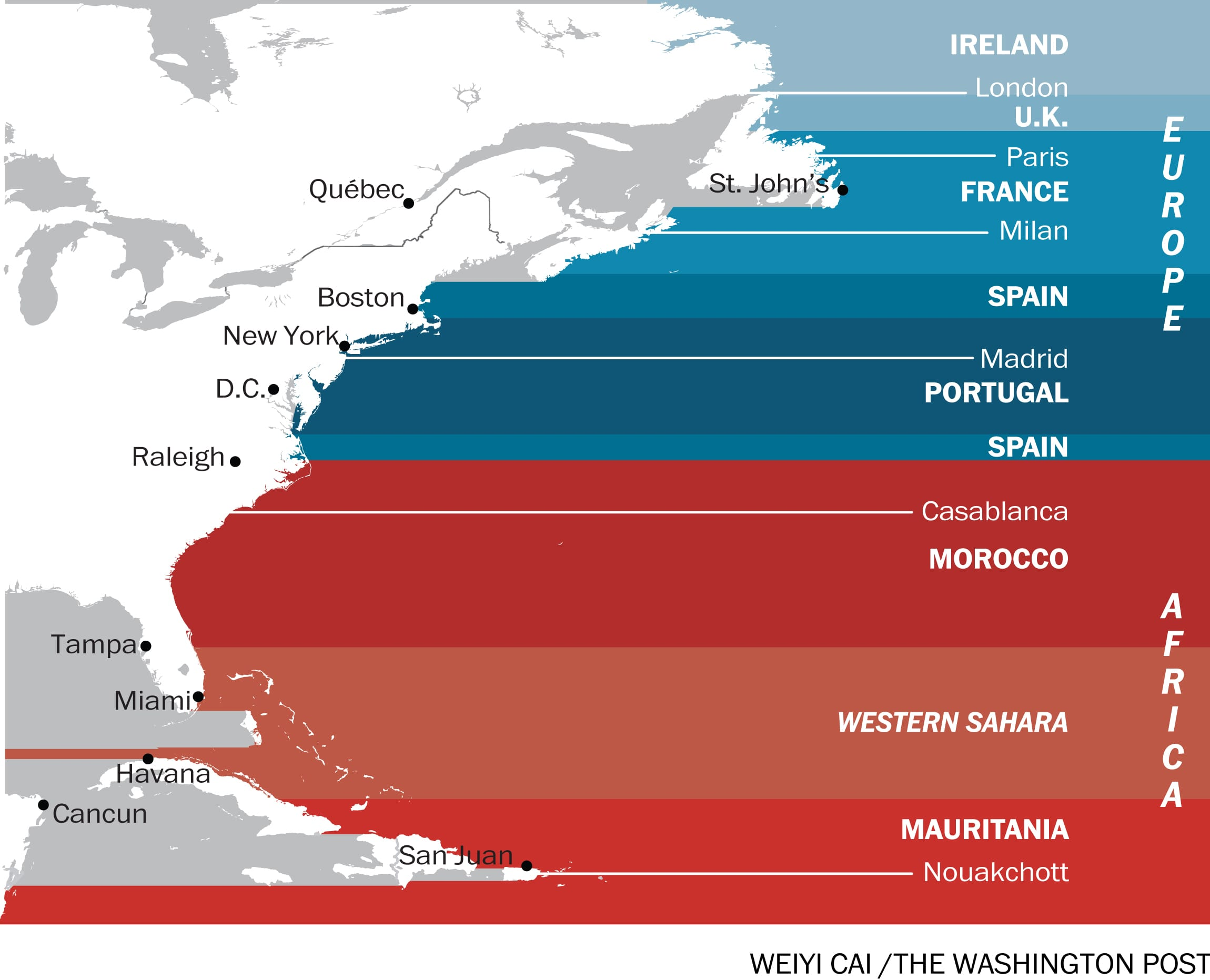 What S Across The Ocean From You When You Re At The Beach In 7 Fascinating Maps The Washington Post
