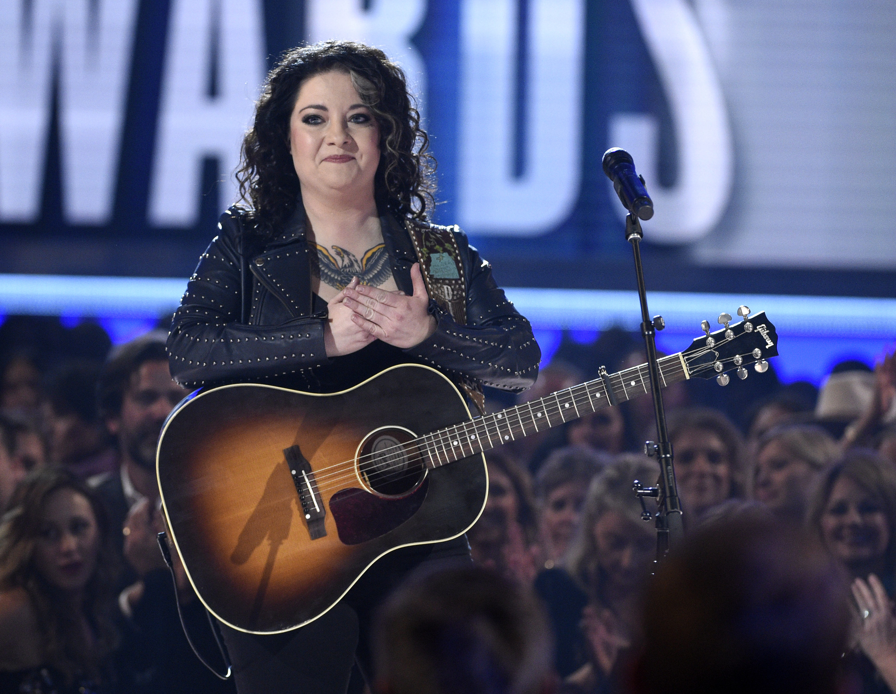 "Ashley McBryde reacts after performing ""Girl Goin' Nowhere."" (Chris Pizzello/Invision/AP)"