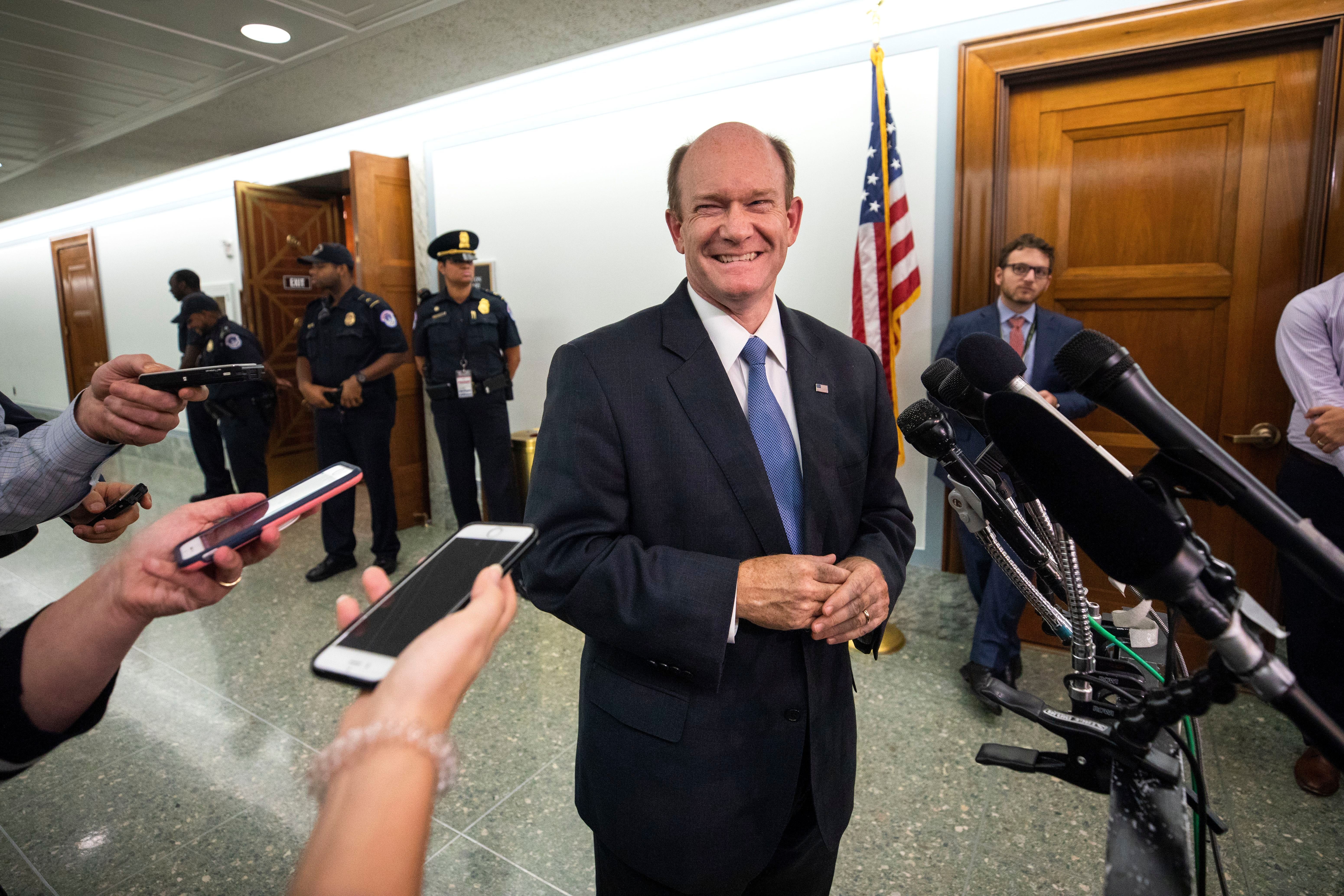 Sen. Chris Coons (D-Del.) speaks to the reporters after the Senate agreed to a one-week delay to allow for an FBI investigation of accusations against Brett Kavanaugh. (Jim Lo Scalzo/EPA-EFE/REX)