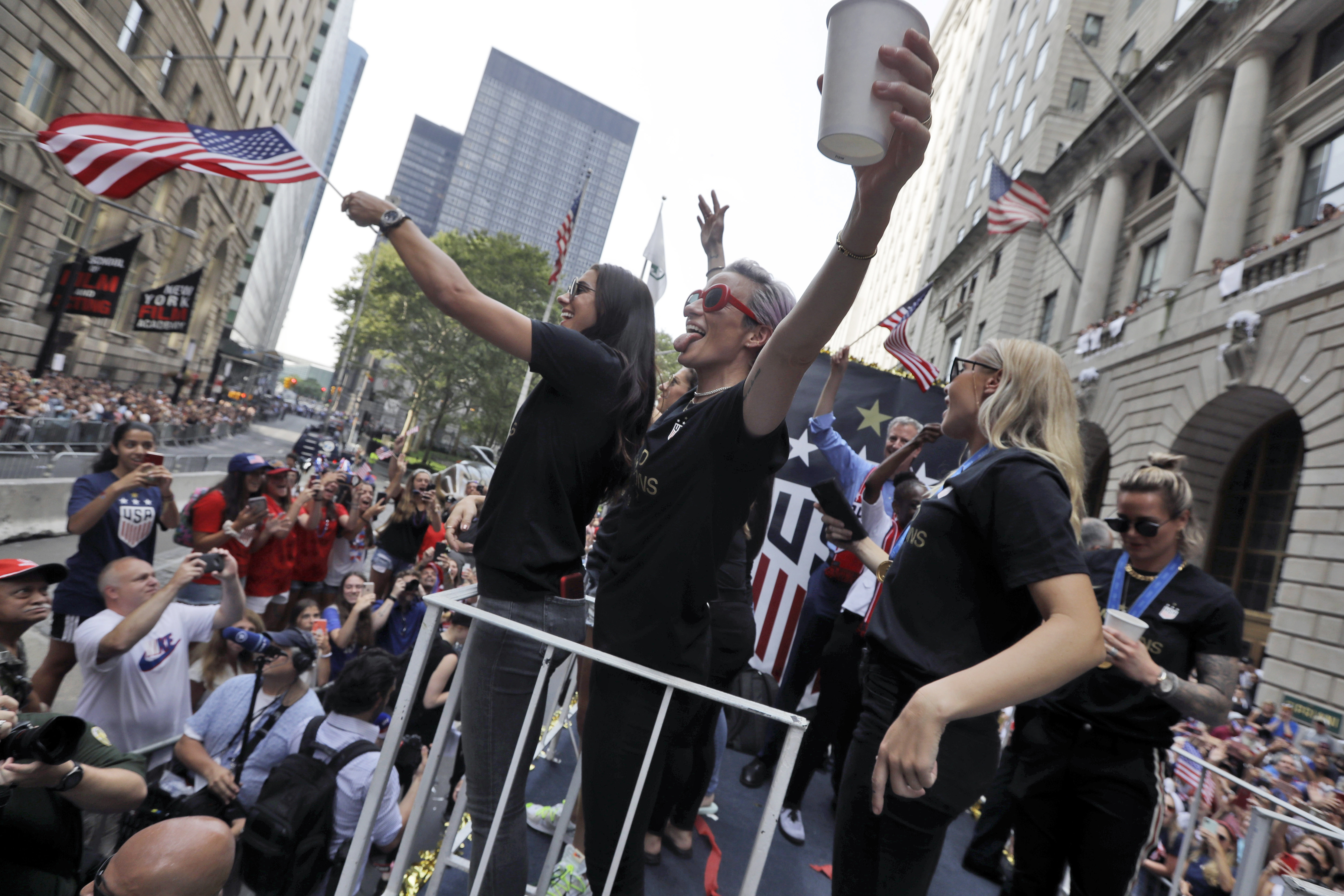 be050eae USWNT ticker-tape parade in NY: Highlights and video - The ...